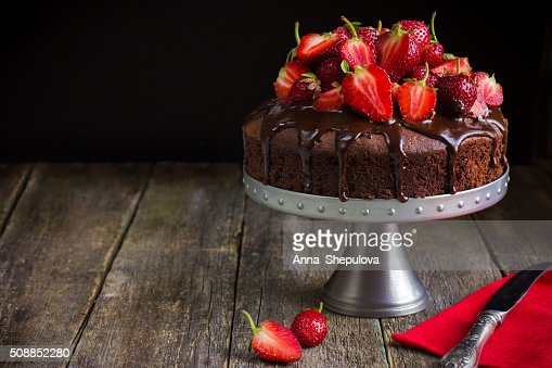 chocolate cake with  fresh strawberry : Stock Photo