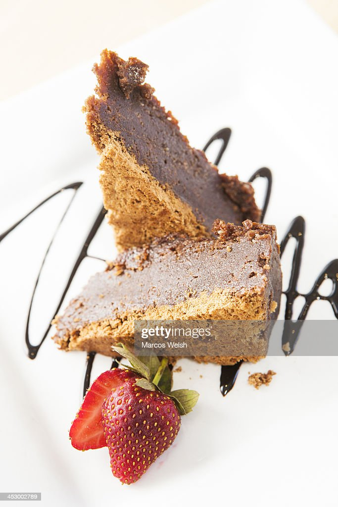 Chocolate cake with strawberry : Stock Photo
