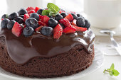 Chocolate cake with summer berries.