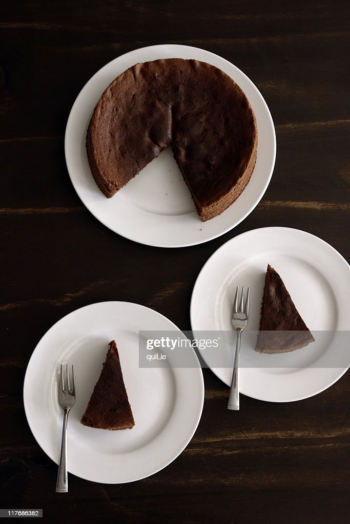 Chocolate cakes in plates : Stock Photo