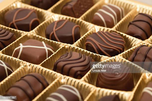 chocolate candies in box