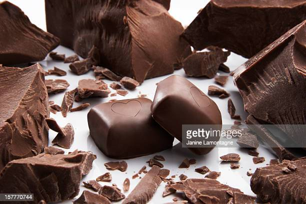 Chocolate candies with hearts