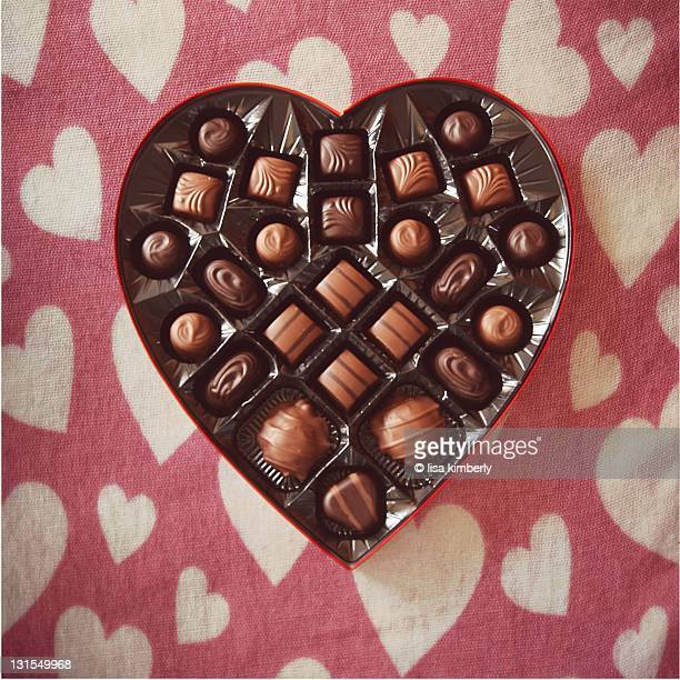 Chocolate candy in heart-shaped box