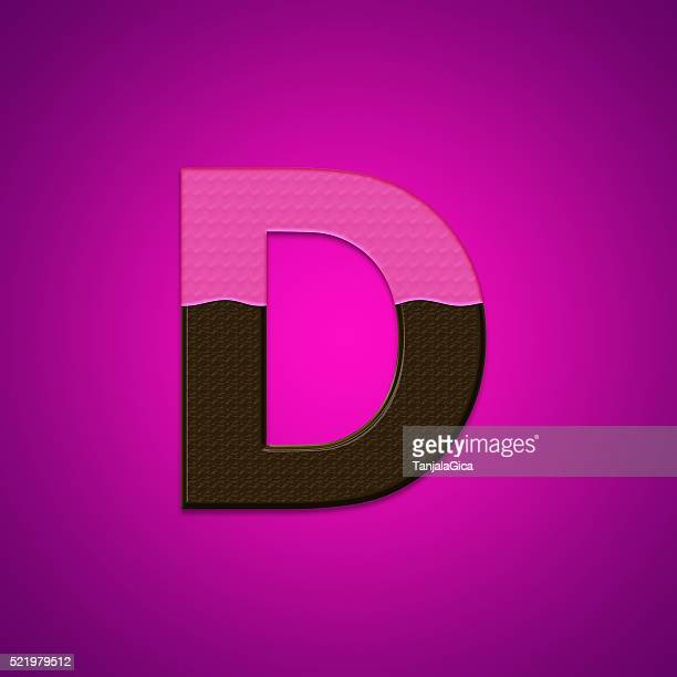 D chocolate candy letters isolated on pink background