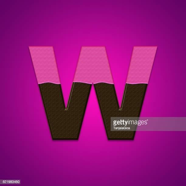 Avec des lettres de bonbons au chocolat isolé sur fond rose