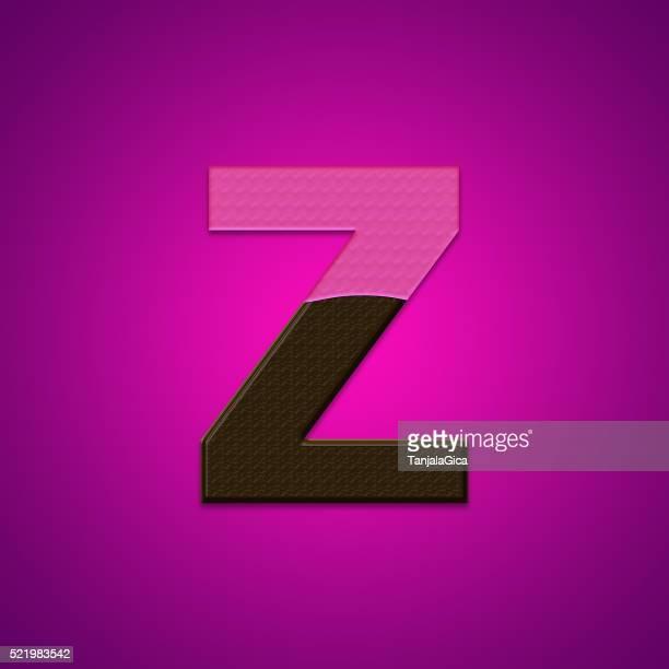 Z lettres de bonbons au chocolat isolé sur fond rose