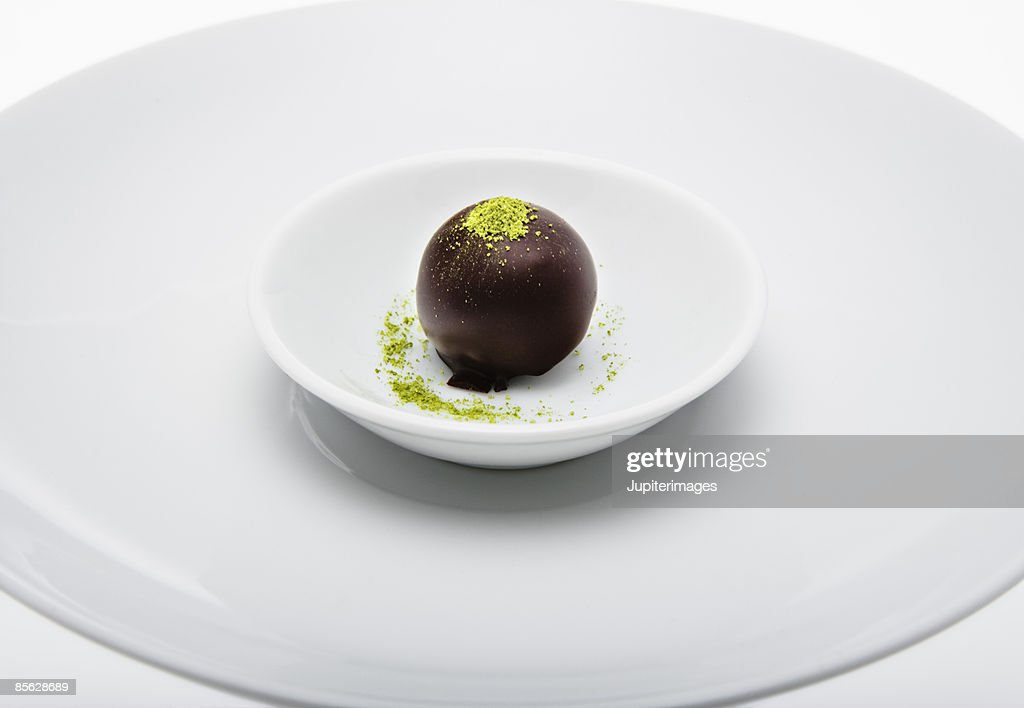 Chocolate candy with green tea powder : Stock Photo