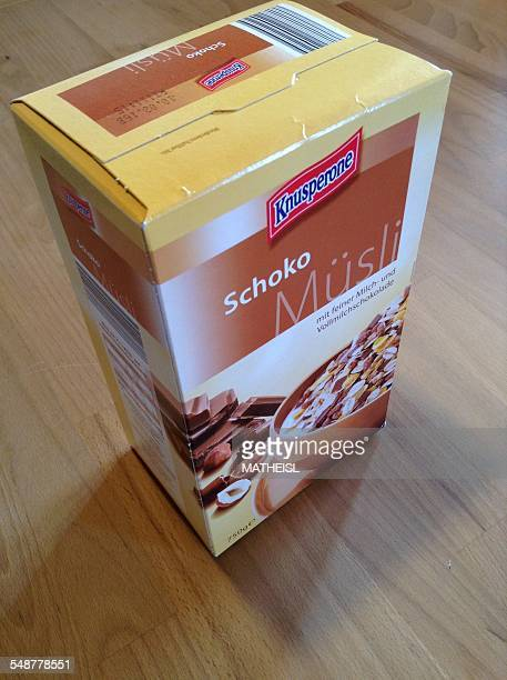 Chocolate Cereal in box for breakfast Germany Europe
