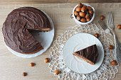Сhocolate cake with cream cheese top view