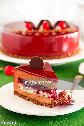 Chocolate cherry cake covered with a mirror coating. : Stock Photo