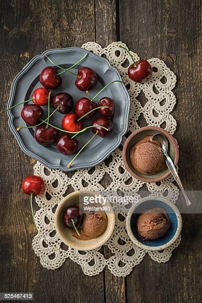 Chocolate cherry icecream with sweet cherries