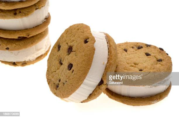 Chocolate chip cookie ice cream sandwich on white