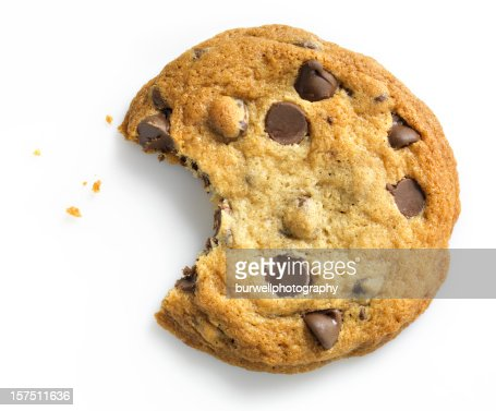 Chocolate Chip Cookie with bite on white