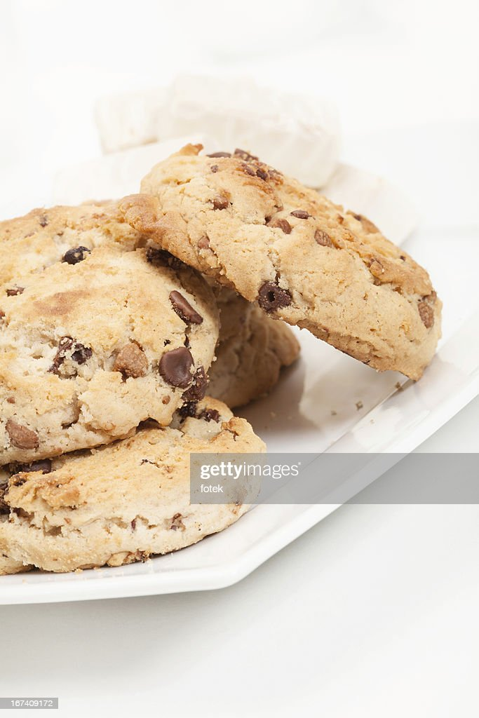 Chocolate chip cookies and candy : Stock Photo