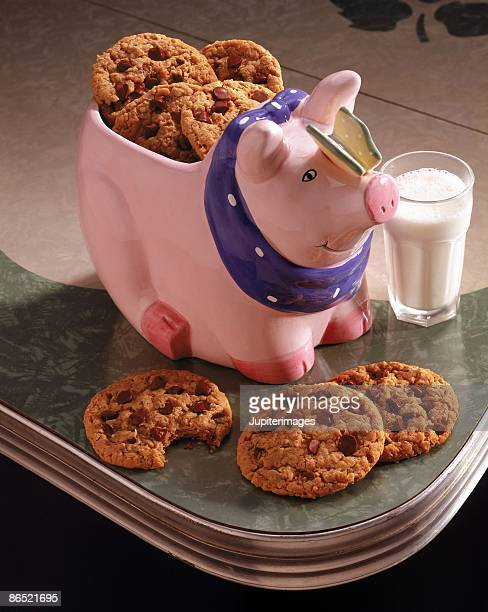 Chocolate chip cookies in cookie jar