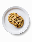 2 chocolate chip cookies on a plate