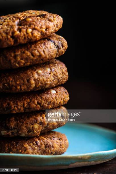 Chocolate Chip Gravel Cookie Stack Close Up