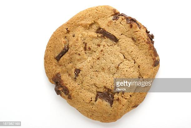 Chocolate chip-chunk cookie against a white background