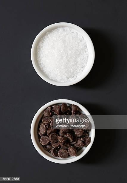 Chocolate chips and salt in ramekins