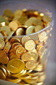 Chocolate coins in a jar