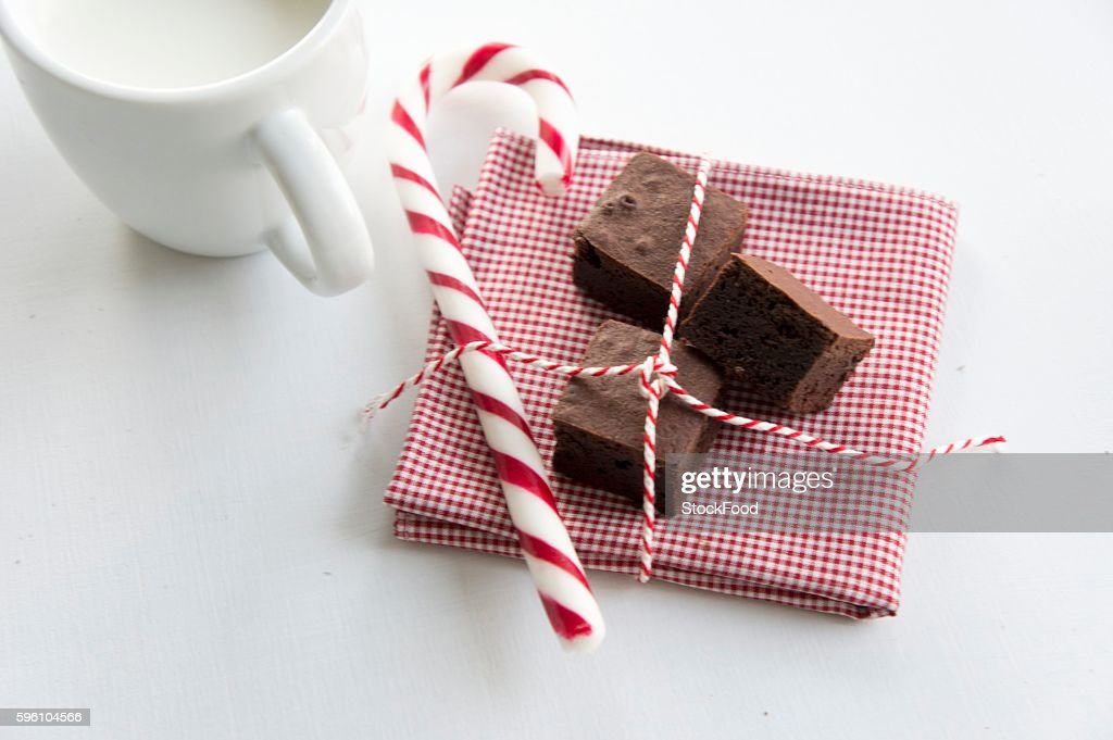 Chocolate confectionery with a candy cane