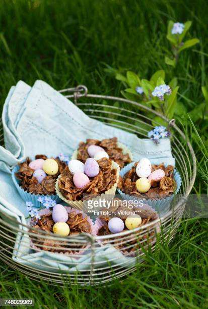 Chocolate cornflake nests for Easter