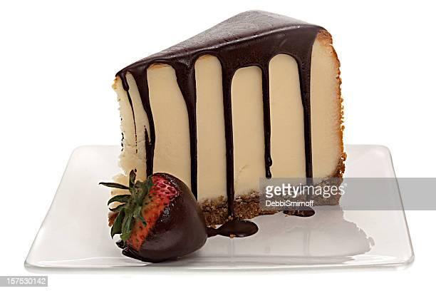 Mit Schokolade überzogene-Käsekuchen