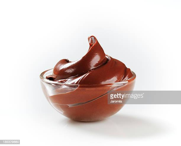 Chocolate cream in glass bowl