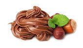 chocolate cream with hazelnut isolated on white background