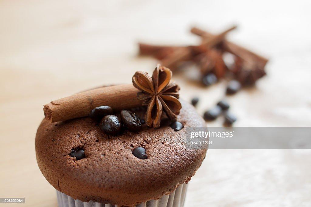 chocolate cupcake, coffee beans, cinnamon, star anise , coffee s : Stock Photo
