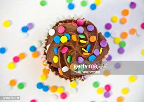 USA, Carolina, Mecklenburg County, Chocolate cupcake covered with multicolored sprinkles : Stock Photo
