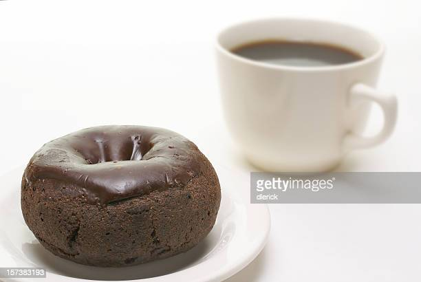 chocolate donut and coffee