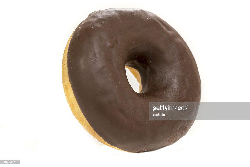 Schokoladen Donuts isoliert auf weißem Hintergrund : Stock-Foto