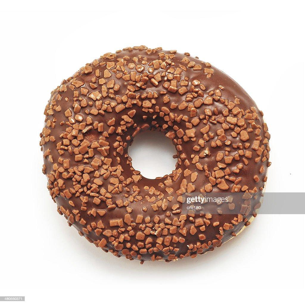 Buñuelo en forma de rosca de chocolate : Foto de stock