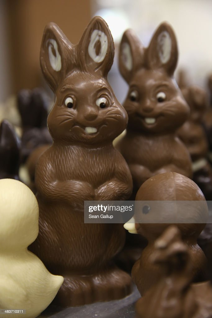 Chocolate Easter bunnies and other animals lie on a table prior to being packaged at the production facility at Confiserie Felicitas chocolates maker on April 9, 2014 in Hornow, Germany. Easter is among the busiest times of year for the chocolatier, which produces Easter bunnies and eggs in a wide variety of sizes and styles. Founded by Belgian expats Goedele Matthyssen and Peter Bientsman the company will soon celebrate its 21st year.