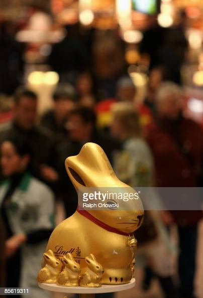 A chocolate Easter bunny is displayed for sale at a shop on March 26 2009 in Frankfurt am Main Germany Two weeks before Easter Sunday retailers stock...