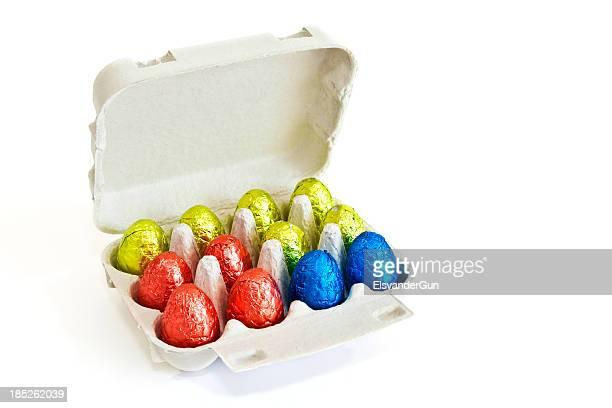 chocolate easter eggs in an egg carton