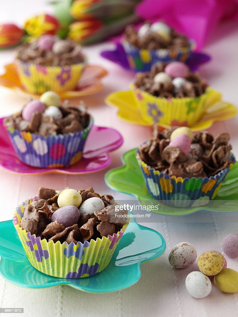 Chocolate easter nests in cupcake iners. : Stock Photo