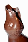 Chocolate Easter rabbit with a broken ear