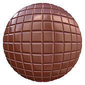 3d render of circular chocolate pieces.