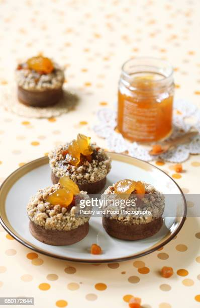 Chocolate Financier Cakes with Apricots and Streusel Topping