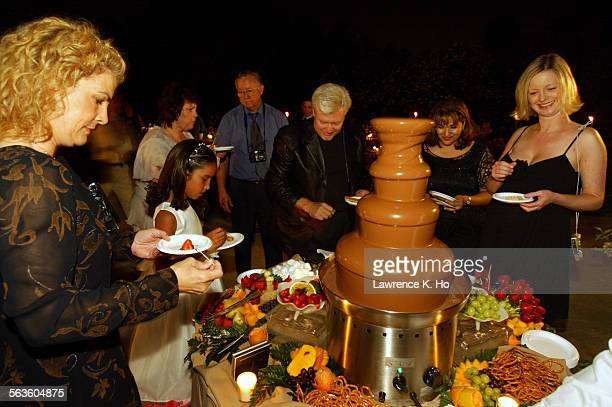 Chocolate fountain at a wedding party Pic shows the fountain a major attraction to everyone