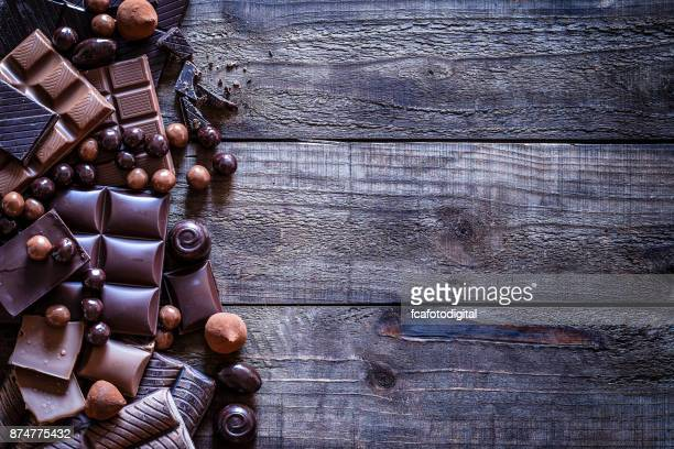 Chocolate frame on rustic wooden table
