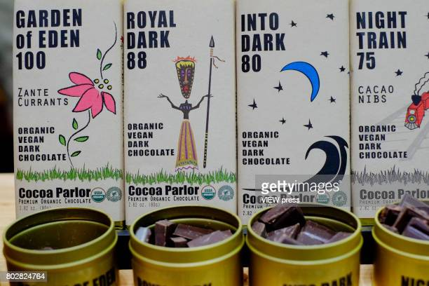 Chocolate from Cocoa Parlor are displayed at the Annual Summer Fancy Food Show on June 262017 at the Javits Center in New York City