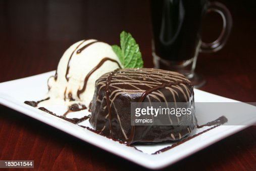 Chocolate Glazed Cake & Vanilla Ice Cream