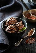 Homemade Organic chocolate Ice Cream scoop decorated with chocolate sauce