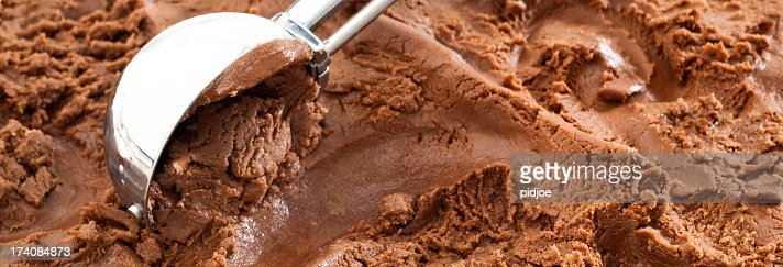chocolate ice cream with scoop