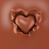 chocolate in the form of heart shape drop on hot chocolate splash, Design for chocolate products, 3d illustration.