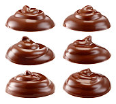 Chocolate isolated. Chocolate swirl on white background. Collection. With clipping path. Full depth of field.