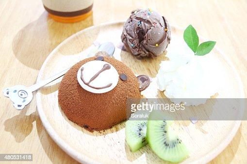 "Schokoladen- ""Lava Cake"" : Stock-Foto"